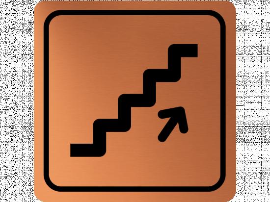 Указателна табела стълбище нагоре - мед