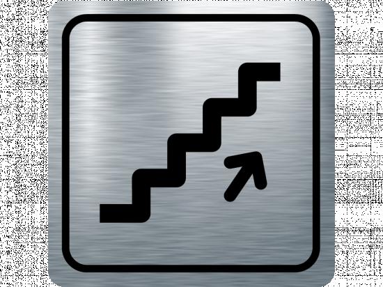 Указателна табела стълбище нагоре - инокс