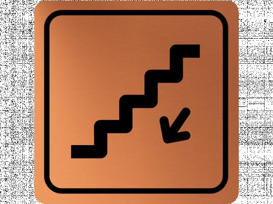 Указателна табела стълбище надолу - мед