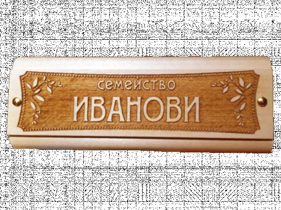 Табелка за врата Иванови - дърво