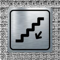 Указателна табела стълбище надолу - инокс